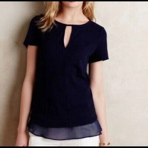 Anthropologie Knit Navy Blouse Size XS Deletta